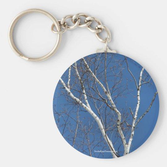 Birken-Baum-blauer Himmel-Natur-Foto Keychain Standard Runder Schlüsselanhänger