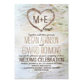 Birken-Baum-Herz-rustikale Hochzeit im Herbst 12,7 X 17,8 Cm Einladungskarte