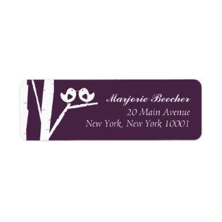 Birken-Baum-Vogel-Adressen-Etiketten lila