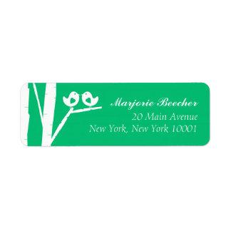 Birken-Baum-Vogel-Adressen-Etiketten Seaglass Grün