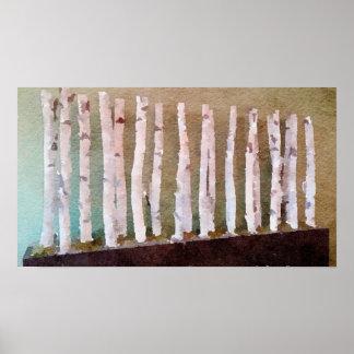 Birken-Bäumeabstrakter Watercolor Poster