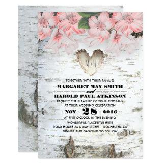 Birken-Baumrinde-Herz-rustikale Land-Hochzeit 12,7 X 17,8 Cm Einladungskarte