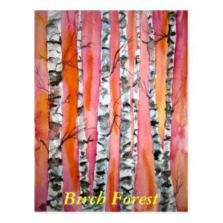 Birkenbaum-Landschaftsabstrakte Kunst Postkarte