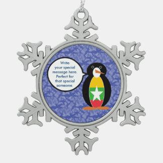 Birmane-oder Myanmar-Feiertags-Herr Penguin Schneeflocken Zinn-Ornament
