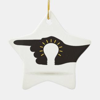 Birne in einer Hand Keramik Stern-Ornament