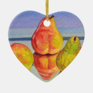 Birnen-Reflexion Keramik Herz-Ornament