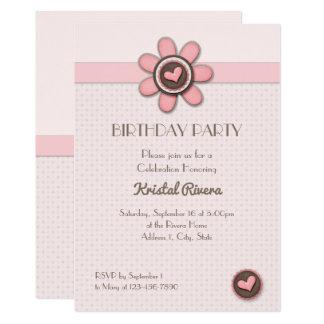 Birthday Invitation - Button Floral