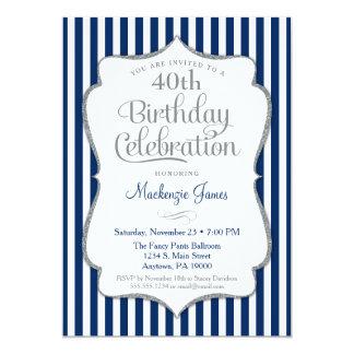 Birthday Invitation Navy Blue Silver Adult Karte
