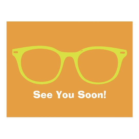 Bis bald die Limone u. orange Brillen-Postkarte Postkarte