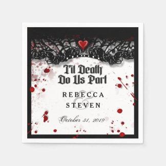 Bis Tod tun Sie uns Teil-Blut-Spritzer Halloween Serviette