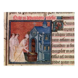 Bischof, der eine Kirche widmet Postkarte