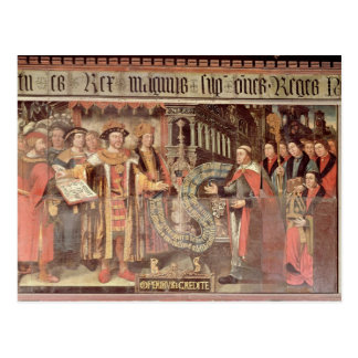 Bischof Robert Sherburne mit Henry VIII Postkarte