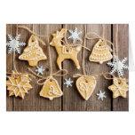 Biscuits faits maison de pain d'épice de Noël Carte De Vœux