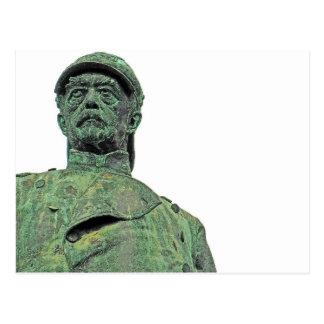 Bismarck-Statue, Berlin, Kopf, Weiß-Rückseite Postkarte