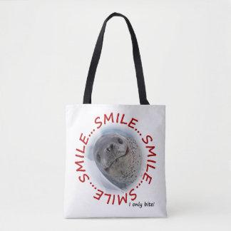 Biss des Lächeln-… I nur ganz über Druck-Tasche Tasche