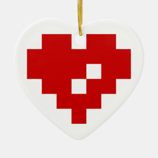 Bit-Liebe des Pixel-Herz-8 Keramik Ornament