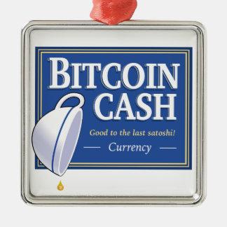 "Bitcoin Bargeld ""gut zum letzten Satoshi"" Silbernes Ornament"