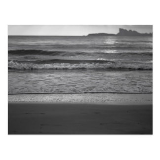 Black and white seaside landscape postkarte