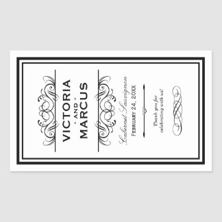 Black and White Wedding Wine Bottle Monogram Favor Rechteckiger Aufkleber