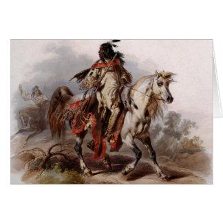 Blackfoot Inder auf dem arabischen Pferd, das Karte