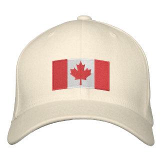 Blanc de casquette de drapeau du Canada Chapeaux Brodés