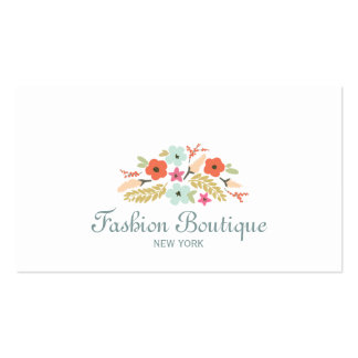 Blanc mignon et lunatique de boutique de bouquet carte de visite standard