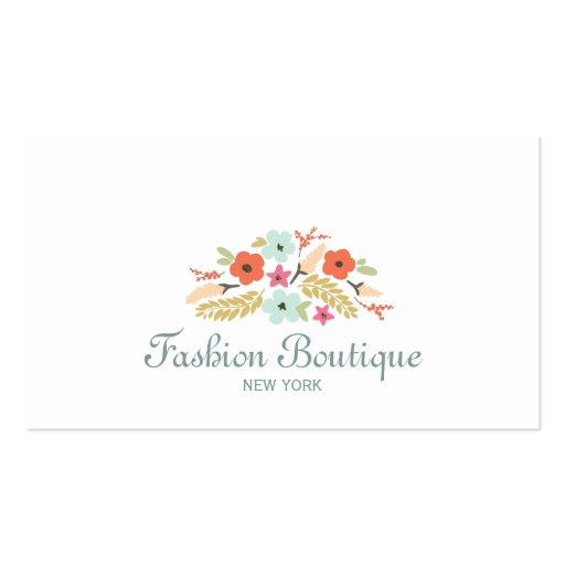 Blanc mignon et lunatique de boutique de bouquet modèle de carte de visite