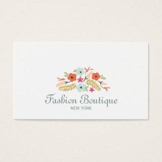 Blanc mignon et lunatique de boutique de bouquet cartes de visite