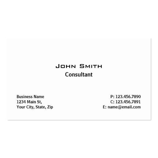 Blanc simple simple moderne élégant professionnel cartes de visite professionnelles