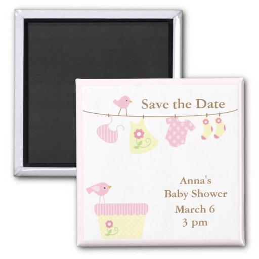 Blanchisserie de bébé (rose) magnet carré