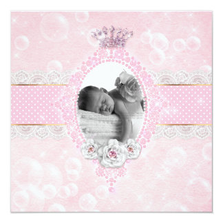 Blasen-Baby-Mädchen-Kronen-Rosen-Rosa-Goldpunkt Quadratische 13,3 Cm Einladungskarte
