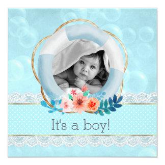Blasen-Baby-Seelebensretter-Blumenpunkt Quadratische 13,3 Cm Einladungskarte