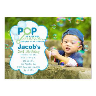 Blasen-Pop-Jungen-Foto-Geburtstags-Party Einladung