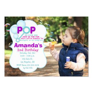 Blasen-Pop-Mädchen-Foto-Geburtstags-Party 12,7 X 17,8 Cm Einladungskarte
