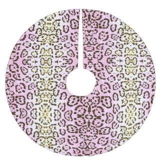 Blaß - rosa Cheetah-Pop-Kunst-Katzen-Tierdruck Polyester Weihnachtsbaumdecke