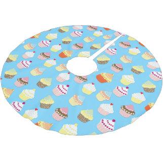 Blasse blaue Schalen-Pastellkuchen Polyester Weihnachtsbaumdecke