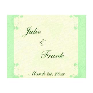 Blasse e-grün und Sahnerolle-und Blumen-Hochzeit Leinwanddruck