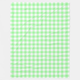 Blasse grüne und weiße Gingham-PastellKaros Fleecedecke