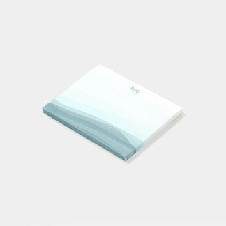 Blasses Aqua-Aquarell bewegt klebrige Posten-it® Post-it Haftnotiz
