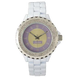 Blasses Lila und Gold Armbanduhr