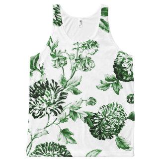 Blatt grünes Vintages botanisches BlumenToile No2 Komplett Bedrucktes Tanktop
