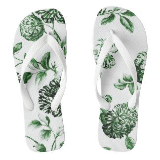 Blatt grünes Vintages botanisches BlumenToile No.2 Flip Flops