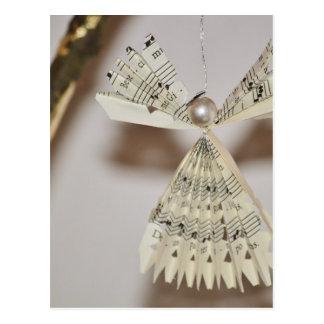 Blatt-Musiknoten-Weihnachtsengels-Perle Postkarte