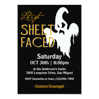 Blatt stellte Halloween-Party gegenüber 12,7 X 17,8 Cm Einladungskarte