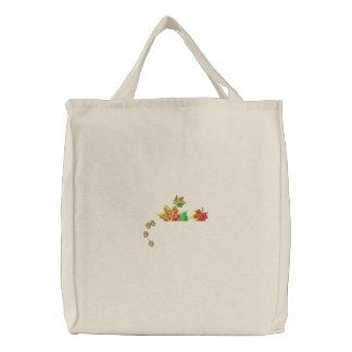 Blätter-Taschen-Deckel Bestickte Tragetasche