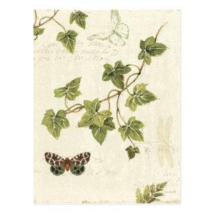 Blätter und ein Schmetterling Postkarte