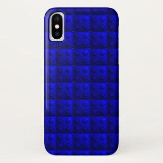 Blau blockiert Muster iPhone X Hülle