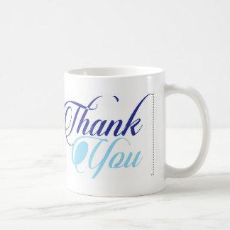 Blau dankt Ihnen script Typografie Kaffeetasse