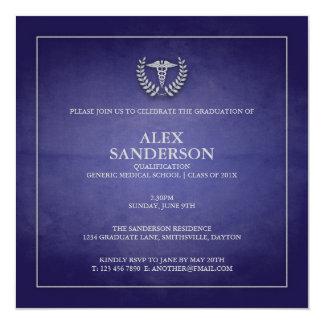 Blau der medizinische SchulAbschluss-Mitteilungs-  Quadratische 13,3 Cm Einladungskarte