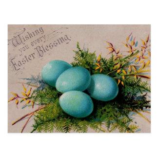 Blau Eggs Ostern-Grüße Postkarte